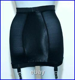 Vintage 1950s 1960s Exquisiteform Black Satin Open Bottom Girdle Skirt XS
