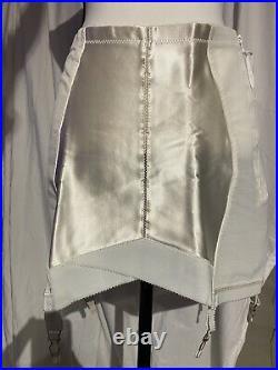 Vintage 1950s-1960s Girdle Open Bottom Garters Ivory Side Zip Size 36 L/XL