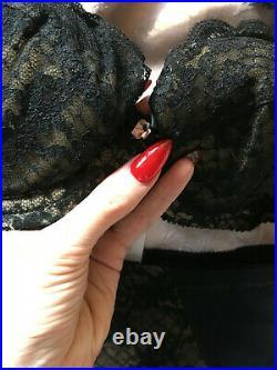 Vintage 1950s 60s Bra Open Bottom Girdle Garters Pinup Black Lace Set