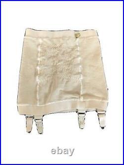 Vintage 1950s Open Bottom Girdle Garter Belt Beige Peter Pan Little Egypt Sz S