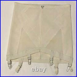 Vintage 1960s Playtex White Open Bottom Girdle withSix Metal Garters. Size XL