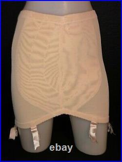 Vintage 1980's VANITY FAIR Beige Open Bottom Girdle with 6 Garters & Ribbons XL