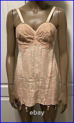 Vintage 20s 30s Pink Brocade BONED Open Bottom Girdle Shaper with Garters LACE Bra