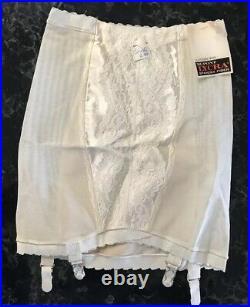 Vintage 50s Girdle Garters NOS Open Bottom PIN-UP Rockabilly Ivory Size S ILGWU