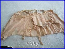 Vintage BEAU-SVELTE Pink Open Bottom Lace Up CORSET GIRDLE BRA with6 Garters L@@K