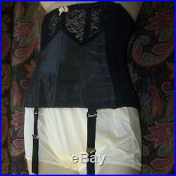 Vintage Black Bow Open Bottom Garters Girdle Slimmer Corset Lingerie 1940s 1950s