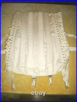Vintage Camp Made In USA Cotton Corselette Open Bottom Girdle Cincher Size 34