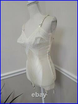 Vintage Carol Brent Satin Lace Corset Griddle Open Bottom Size 37B