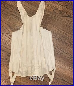 Vintage Corset Full Length Lacing Dress Girdle Garters Open Bottom Metal Boning