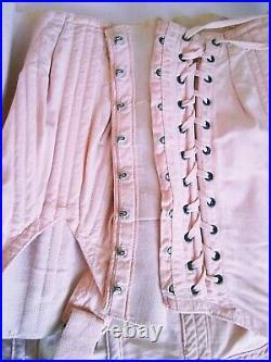 Vintage Corset Girdle Garters Lacing Boning Open Bottom Pale Pink 29 Waist