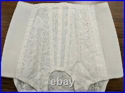 Vintage Crown Cool-ette Open Bottom Girdle White Cotton Embroidered 4731 sz 28