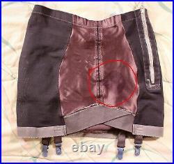 Vintage Dyed Black OBG Open Bottom Girdle withSatin Panels sz 32