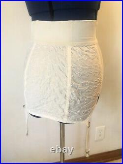 Vintage Girdle Mesh Cotton Embroidery Open Bottom 4 Garters Metal Hooks Boning