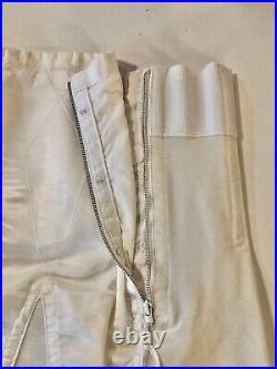 Vintage Girdle NOS Satin White Open Bottom 6 Garters Metal Zipper Spiral Boning