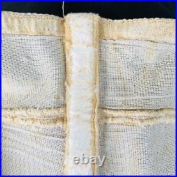 Vintage High Waisted 1940s Open Bottom Corset Girdle w Boning + Metal Zipper