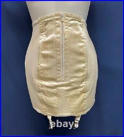 Vintage Lane Bryant Open Bottom Girdle 4 Garters SATINY Front