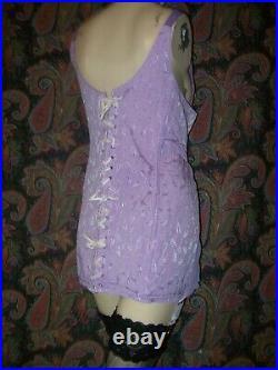 Vintage Montgomery Ward Purple Plus Size All-In-One Open Bottom Garter Girdle 48
