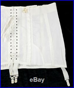 Vintage NOS Rengo White Lace Up Corset Boning Girdle Open Bottom Garters Sz 44