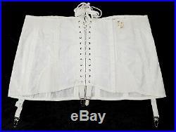 Vintage NOS Rengo White Lace Up Corset w Boning Girdle Open Bottom Garters Sz 46