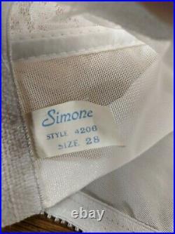 Vintage NOS Simone Nylon Open Bottom Girdle White Floral Lace 4206 sz 28