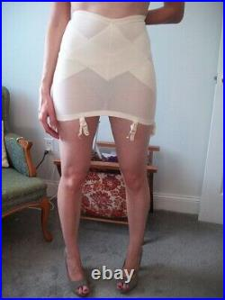 Vintage New Sears Extra Firm Zippered Open Bottom Girdle with 6Garters Wh 2X