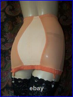 Vintage Orange Satin Panel Power Knit Open Bottom Metal Garter Girdle S