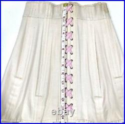 Vintage Pale Pink Corset 1930s Open Bottom Girdle Boning Lacing Garters XS