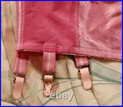 Vintage Pink OBG Open Bottom Girdle withSatin Panels sz 32