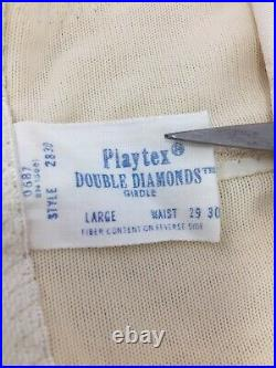 Vintage Playtex Double Diamond Open Bottom Girdle WithGarters Large Waist 29 30
