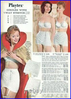 Vintage Playtex Eighteen Hour Firm Control Open Bottom Girdle with Garters Wh XL
