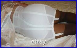 Vintage Rago Hi Waist Extra Firm Zippered Open Bottom Gartered Girdle Brief Wh M