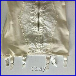 Vintage Satin Panel Open Bottom Zipper Front Girdle, Size 36B
