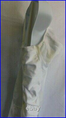 Vintage Secret Slimmer Full Body Girdle White Satin Size 46C Open Bottom Shaper