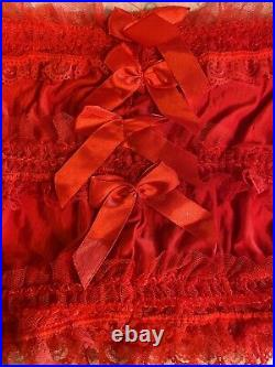 Vintage Sexy Red Open Bottom Satin Sissy Lace bottom or top cover Size S