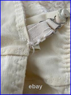 Vintage Spantrol Open Bottom Girdle Corset Ivory With Garters 46 B
