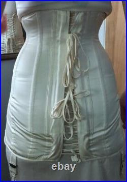 Vintage Spirella Open BOTTOM GIRDLE corset Garters Lace Up Zipper Boning 50's 60