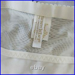 Vintage Style Satin Open Bottom Girdle 6 Garters Side Zip Ivory Small