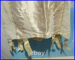 Vintage Treo Full Body Girdle 6 Garters Open Bottom All In One Lace Satin Bra 36