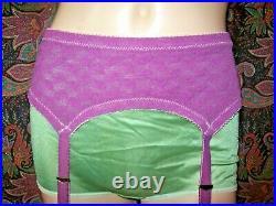 Vintage USA Magenta Brocade Knit Open Bottom Girdle Garter Belt Lingerie 34