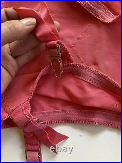 Vintage Vanity Fair Candy Pink Open Bottom Girdle withSix Garters Size XS-S