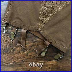 Vintage WARNER'S Open Bottom Girdle BROWN with 6 Garters Lace Panel Small/XS