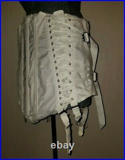 Vintage White Brocade Fan Corset Girdle L Lumbar Support w Garters Open Bottom