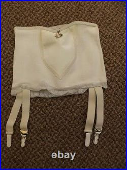 Vtg 1950s NEW NOS White Rubber & Rayon Open Bottom 4 Garters Girdle M/26 Pin Up