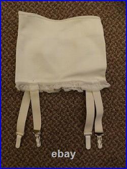 Vtg 1950s NEW NOS White Rubber & Rayon Open Bottom 4 Garters Girdle S/24 Pin Up