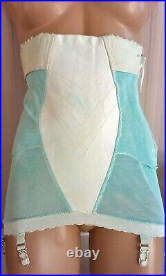 Vtg 50's Playtex Aqua Acetate Rayon 6-garter Side-zip Boned Open Bottom Girdle M