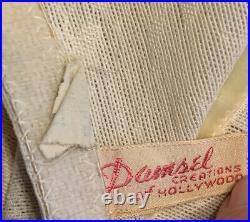 Vtg 50s OPEN BOTTOM GIRDLE Damsel BONWIT Teller 6 Garters Zipper Hook Eye Lg