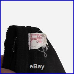 Vtg 50s Sheer Black & Red GIRDLE Black Lace & Red Ribbons V Open Bottom 4 Garter