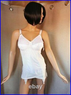 Vtg 60's-70's Open Bottom Corselette/girdle White By St Michael Size 40b #319