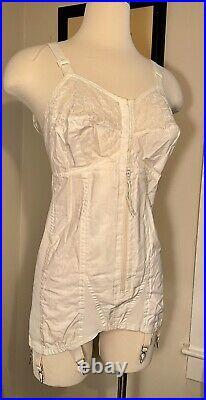 Vtg 60s SEARS Boned bra corset garters open bottom Rubber Lace 40 B XL