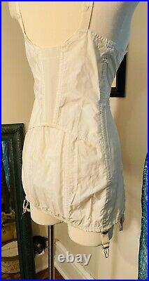 Vtg 60s SEARS Pin Up Boned bra corset garters open bottom Girdle 40 B XL